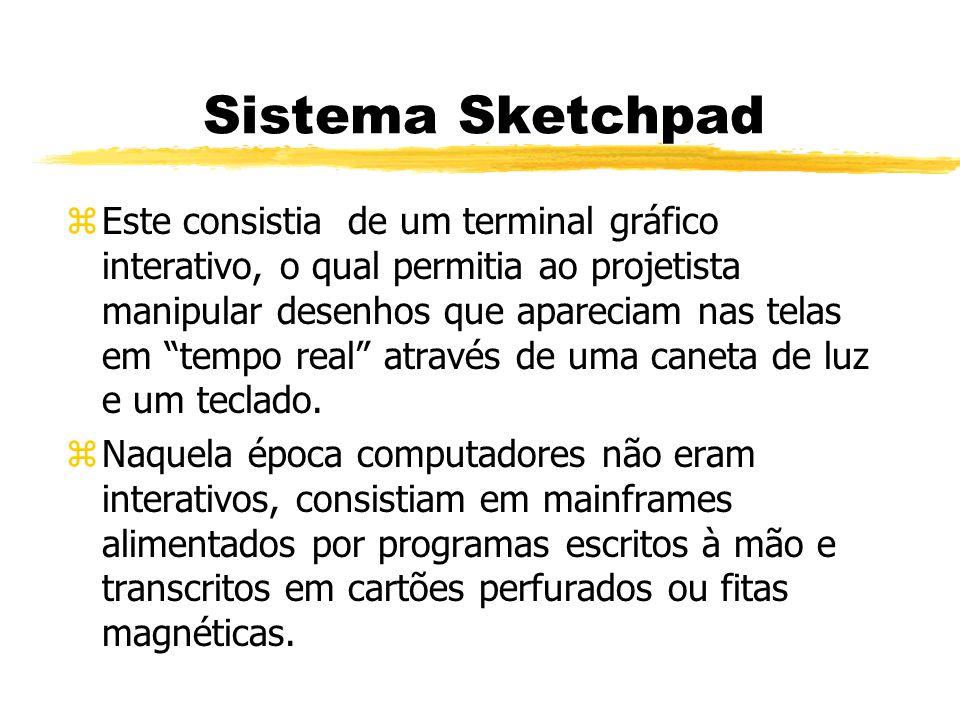 Sistema Sketchpad zEste consistia de um terminal gráfico interativo, o qual permitia ao projetista manipular desenhos que apareciam nas telas em tempo real através de uma caneta de luz e um teclado.