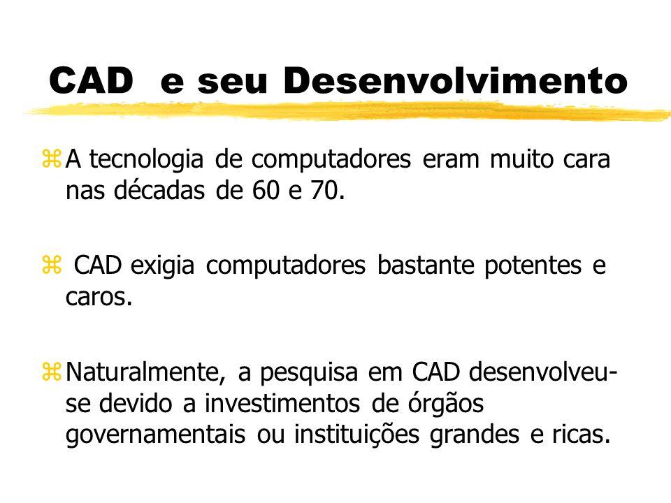 CAD e seu Desenvolvimento zA tecnologia de computadores eram muito cara nas décadas de 60 e 70.