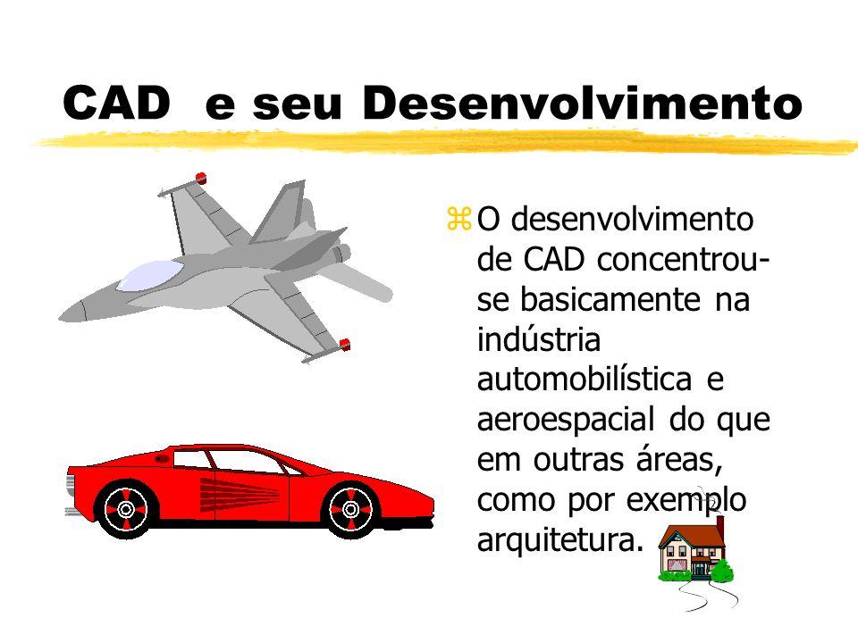CAD e seu Desenvolvimento zO desenvolvimento de CAD concentrou- se basicamente na indústria automobilística e aeroespacial do que em outras áreas, como por exemplo arquitetura.