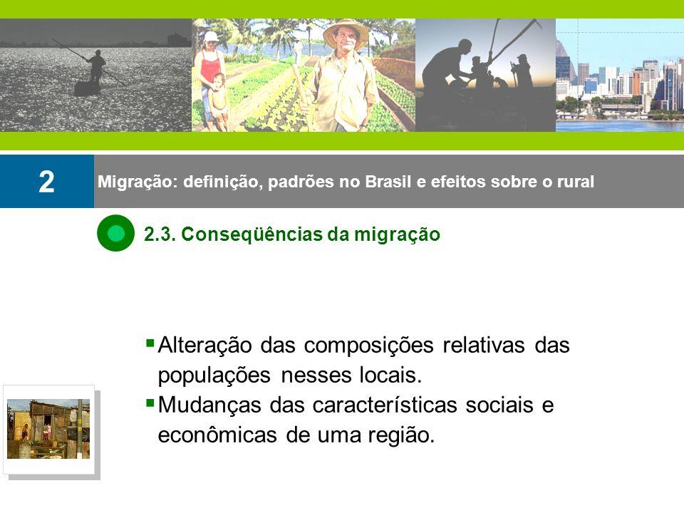 Alteração das composições relativas das populações nesses locais. Mudanças das características sociais e econômicas de uma região. Migração: definição
