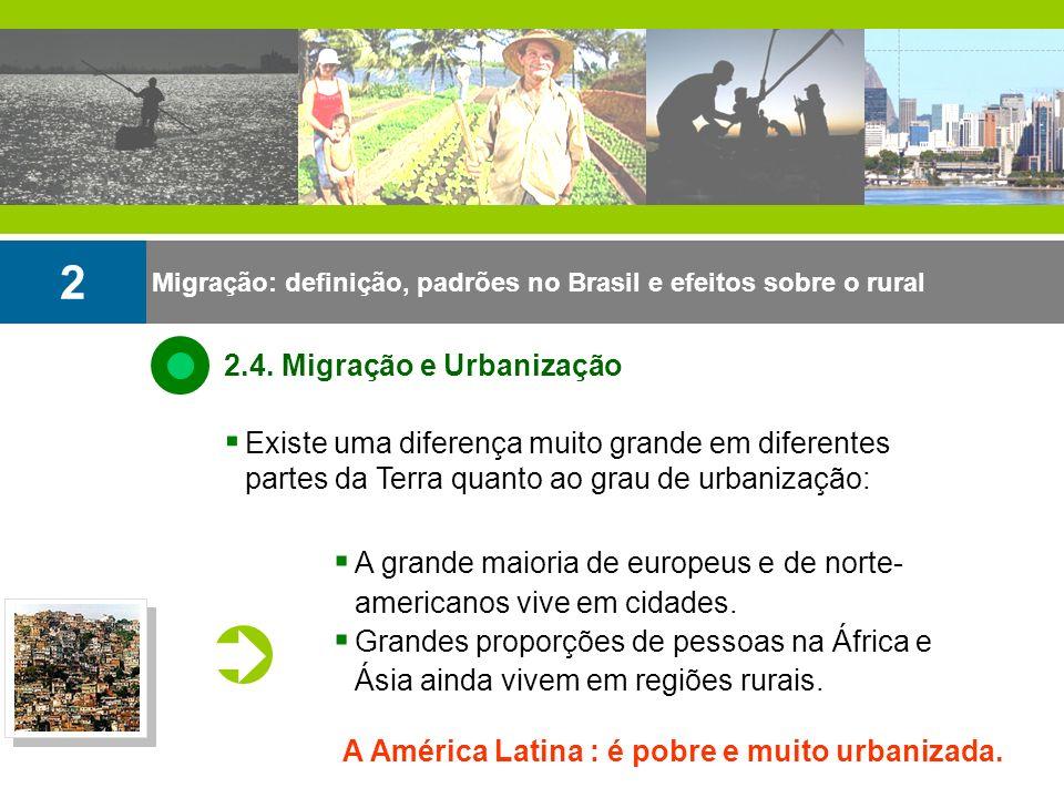 A grande maioria de europeus e de norte- americanos vive em cidades. Grandes proporções de pessoas na África e Ásia ainda vivem em regiões rurais. Mig