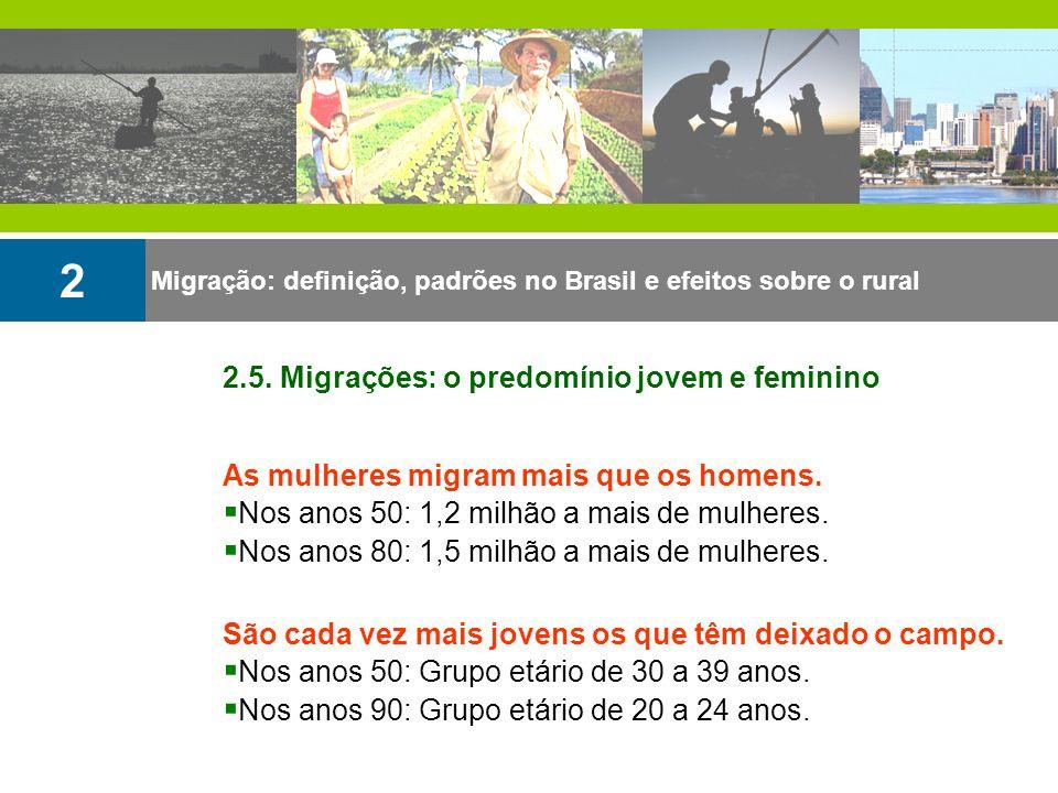 2 As mulheres migram mais que os homens. Nos anos 50: 1,2 milhão a mais de mulheres. Nos anos 80: 1,5 milhão a mais de mulheres. São cada vez mais jov