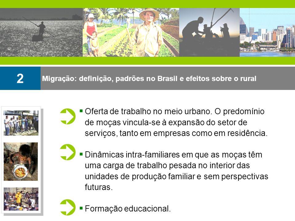 Migração: definição, padrões no Brasil e efeitos sobre o rural 2 Oferta de trabalho no meio urbano. O predomínio de moças vincula-se à expansão do set