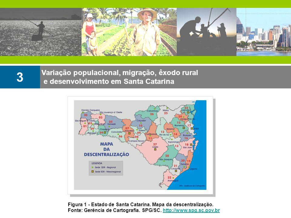 Variação populacional, migração, êxodo rural e desenvolvimento em Santa Catarina 3 Figura 1 - Estado de Santa Catarina. Mapa da descentralização. Font