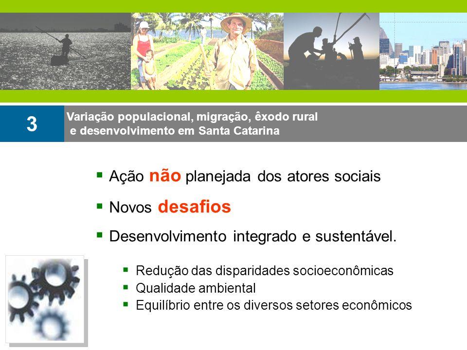 Variação populacional, migração, êxodo rural e desenvolvimento em Santa Catarina 3 Redução das disparidades socioeconômicas Qualidade ambiental Equilí