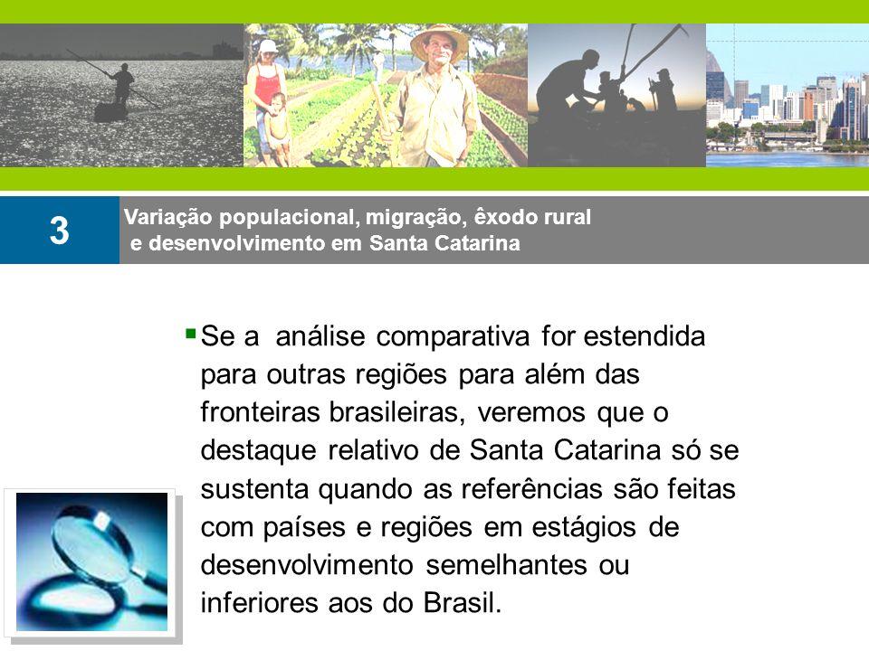 Variação populacional, migração, êxodo rural e desenvolvimento em Santa Catarina 3 Se a análise comparativa for estendida para outras regiões para alé