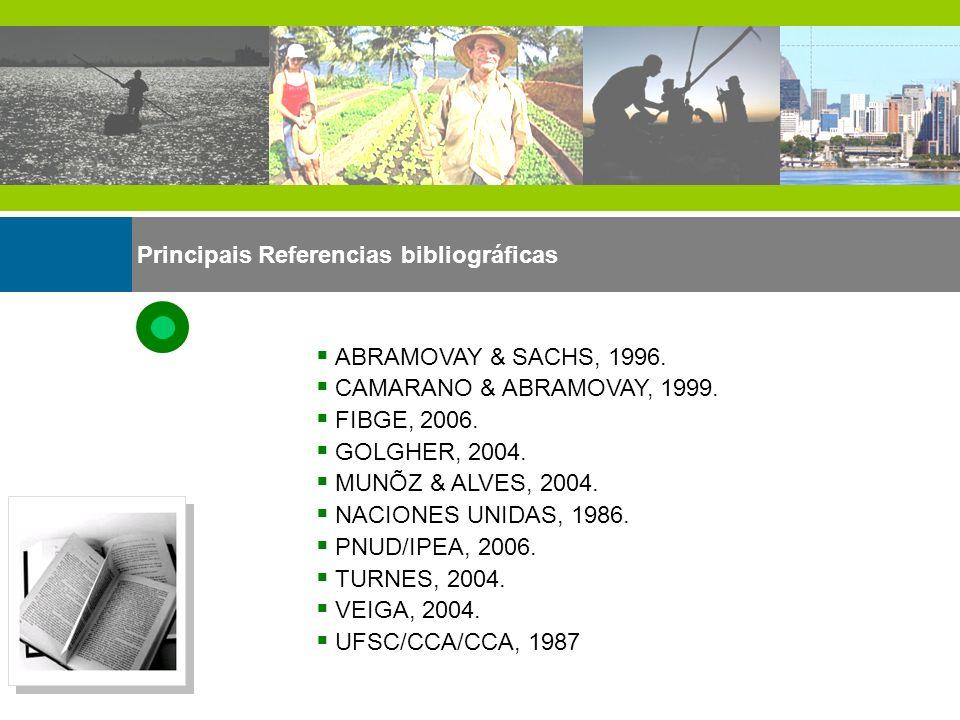 Principais Referencias bibliográficas ABRAMOVAY & SACHS, 1996. CAMARANO & ABRAMOVAY, 1999. FIBGE, 2006. GOLGHER, 2004. MUNÕZ & ALVES, 2004. NACIONES U