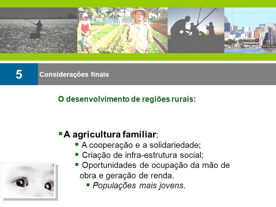 Considerações finais 5 A agricultura familiar ; A cooperação e a solidariedade; Criação de infra-estrutura social; Oportunidades de ocupação da mão de