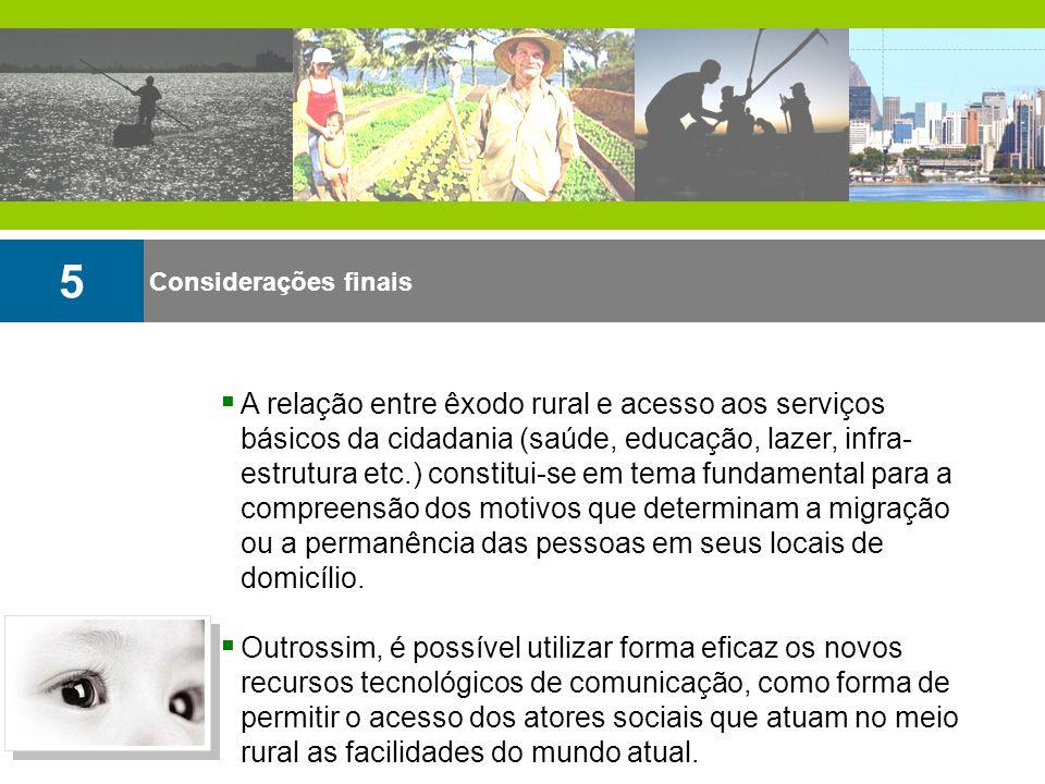 Considerações finais 5 A relação entre êxodo rural e acesso aos serviços básicos da cidadania (saúde, educação, lazer, infra- estrutura etc.) constitu