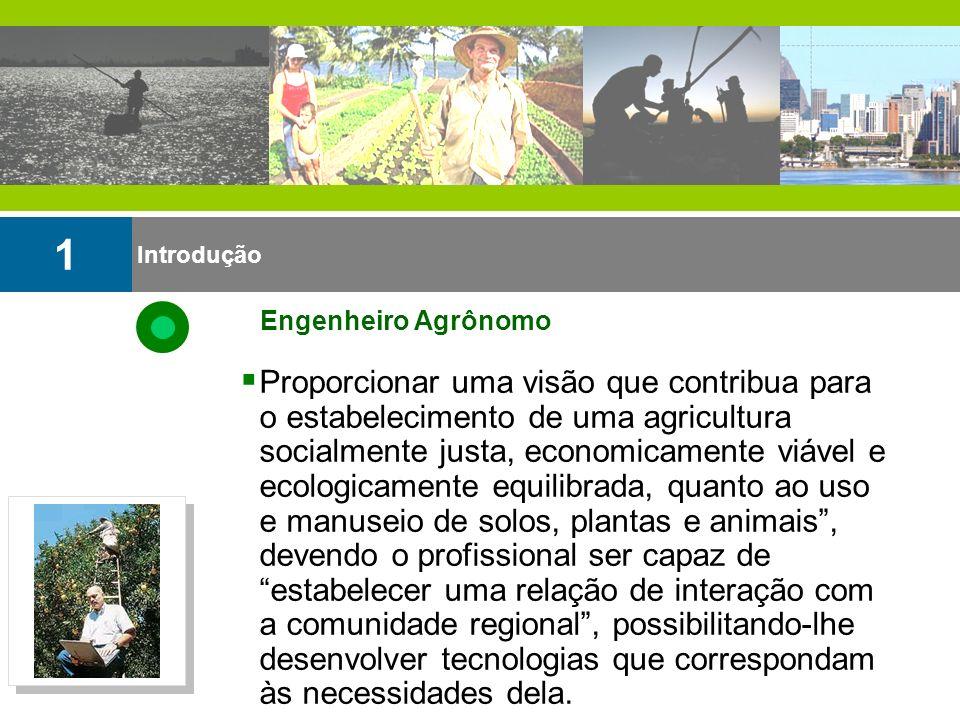 Introdução 1 Engenheiro Agrônomo Proporcionar uma visão que contribua para o estabelecimento de uma agricultura socialmente justa, economicamente viáv