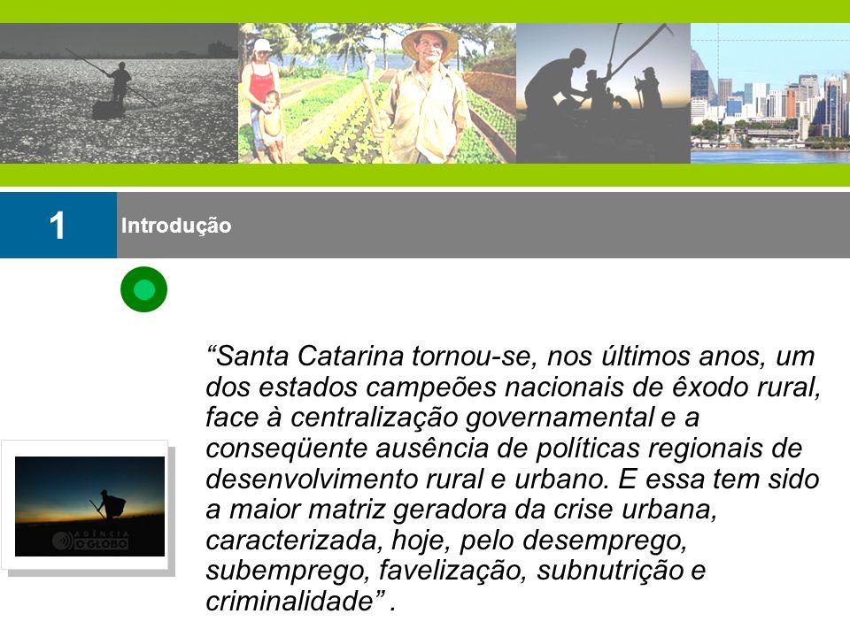 Introdução 1 Santa Catarina tornou-se, nos últimos anos, um dos estados campeões nacionais de êxodo rural, face à centralização governamental e a cons