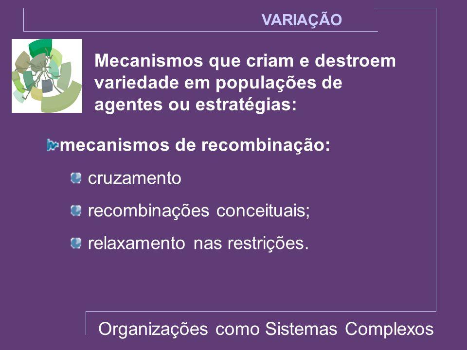 Mecanismos que criam e destroem variedade em populações de agentes ou estratégias: VARIAÇÃO mecanismos de recombinação: cruzamento recombinações conce