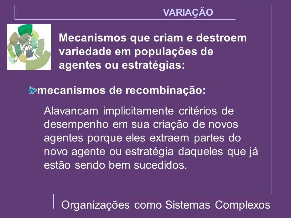 Mecanismos que criam e destroem variedade em populações de agentes ou estratégias: VARIAÇÃO mecanismos de recombinação: Alavancam implicitamente crité