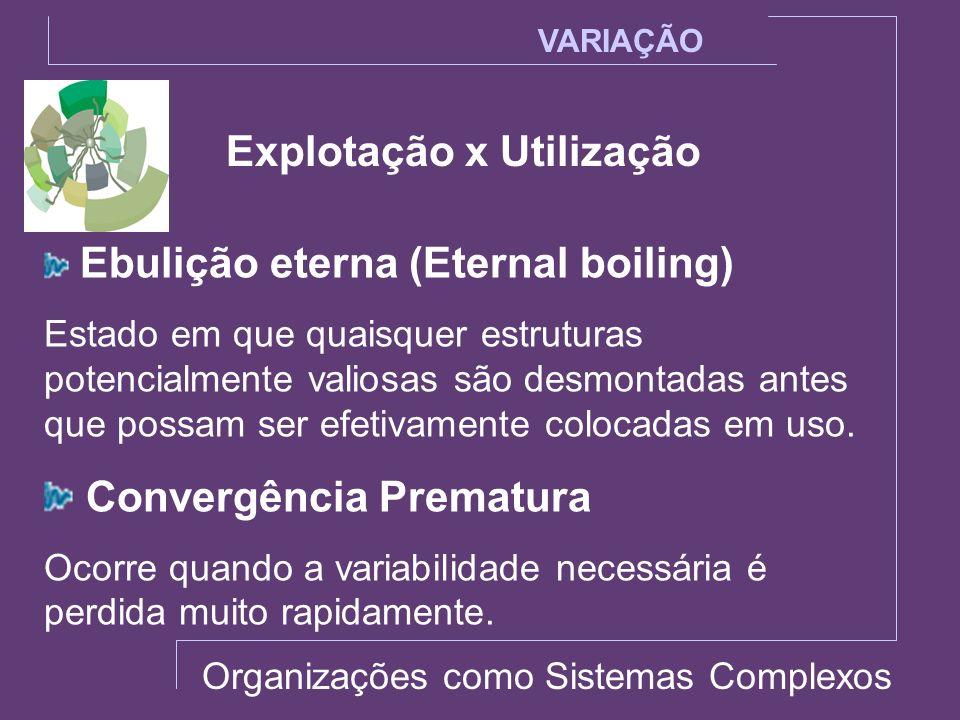 Explotação x Utilização VARIAÇÃO Ebulição eterna (Eternal boiling) Estado em que quaisquer estruturas potencialmente valiosas são desmontadas antes qu