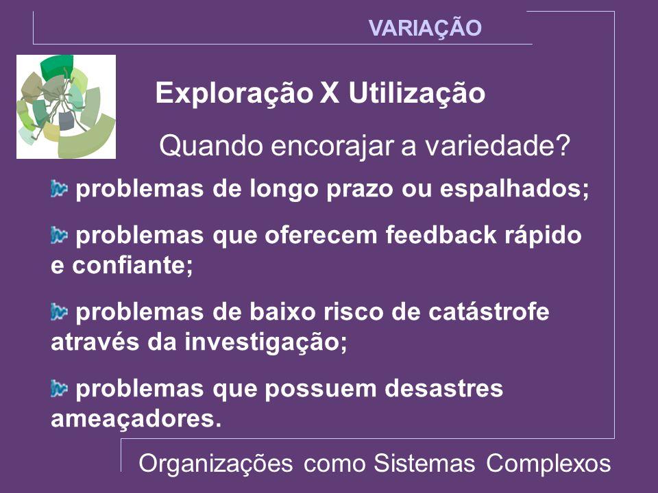 Exploração X Utilização Quando encorajar a variedade? VARIAÇÃO problemas de longo prazo ou espalhados; problemas que oferecem feedback rápido e confia