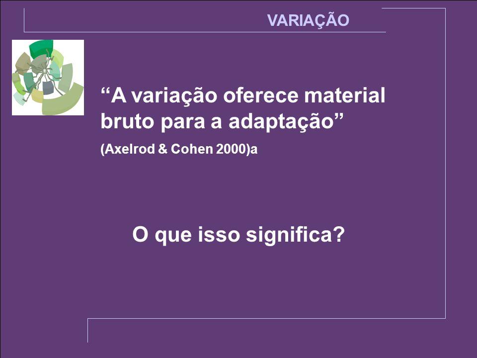A variação oferece material bruto para a adaptação (Axelrod & Cohen 2000)a VARIAÇÃO O que isso significa?