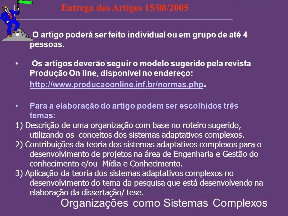 Organizações como Sistemas Complexos O artigo poderá ser feito individual ou em grupo de até 4 pessoas. Os artigos deverão seguir o modelo sugerido pe