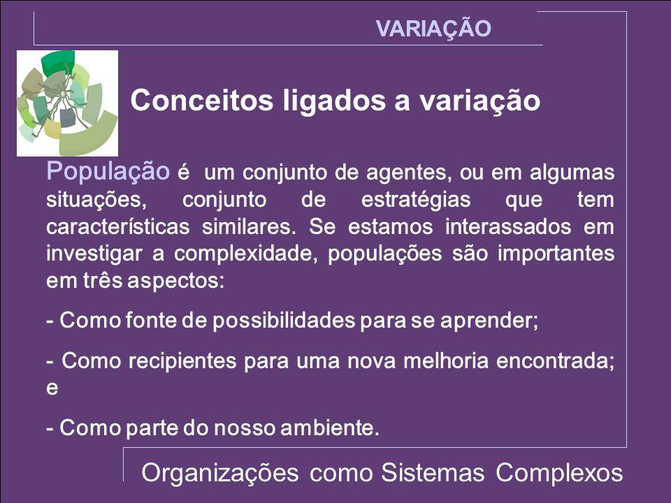 Conceitos ligados a variação VARIAÇÃO Organizações como Sistemas Complexos População é um conjunto de agentes, ou em algumas situações, conjunto de es
