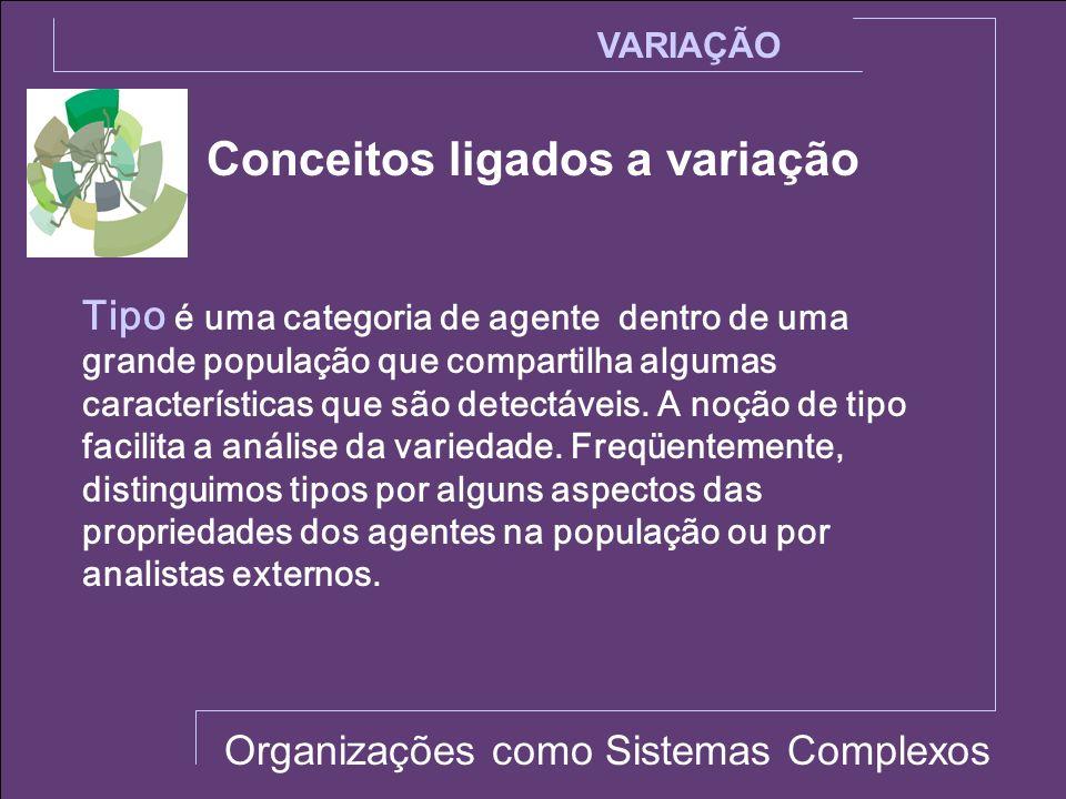 Conceitos ligados a variação VARIAÇÃO Organizações como Sistemas Complexos Tipo é uma categoria de agente dentro de uma grande população que compartil