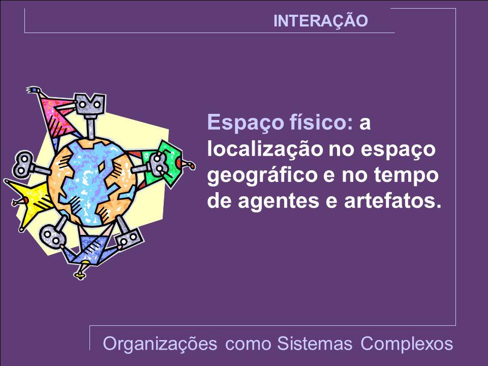 INTERAÇÃO Espaço físico: a localização no espaço geográfico e no tempo de agentes e artefatos. Organizações como Sistemas Complexos