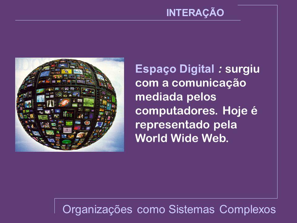 Espaço Digital : surgiu com a comunicação mediada pelos computadores. Hoje é representado pela World Wide Web. INTERAÇÃO Organizações como Sistemas Co