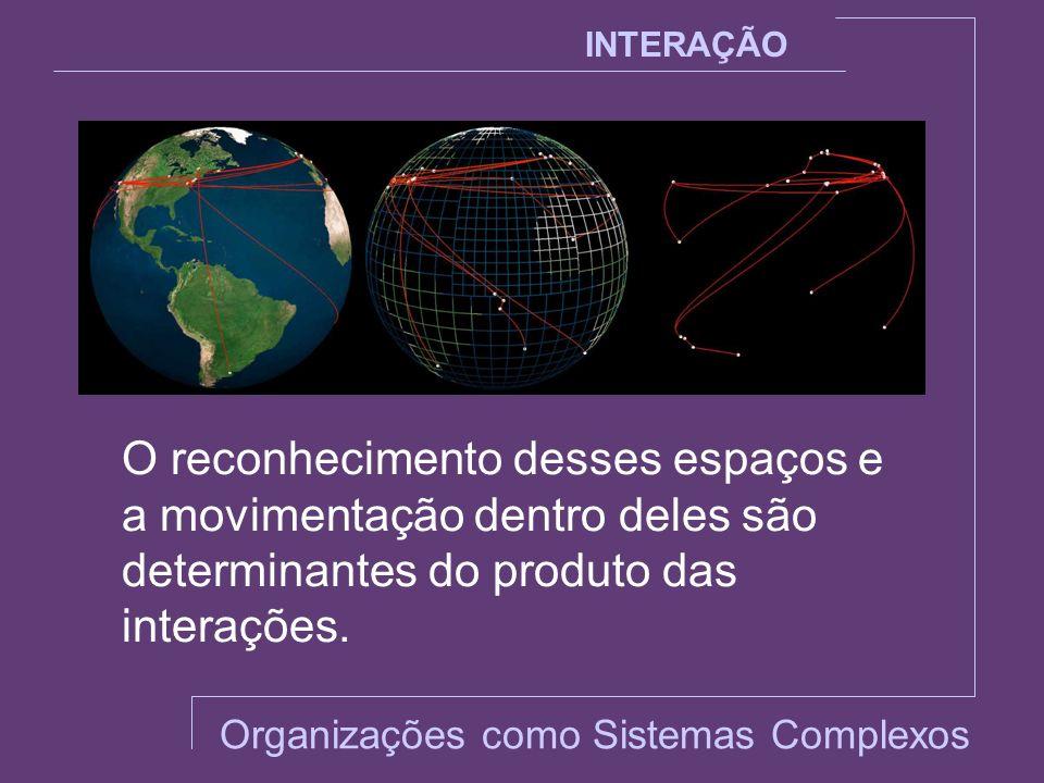 INTERAÇÃO O reconhecimento desses espaços e a movimentação dentro deles são determinantes do produto das interações. Organizações como Sistemas Comple