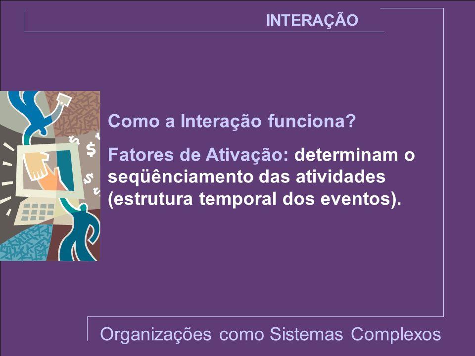 INTERAÇÃO Ativação Externa: a determinação do seqüênciamento das atividades é indicada por fatores ou elementos externos ao sistema.