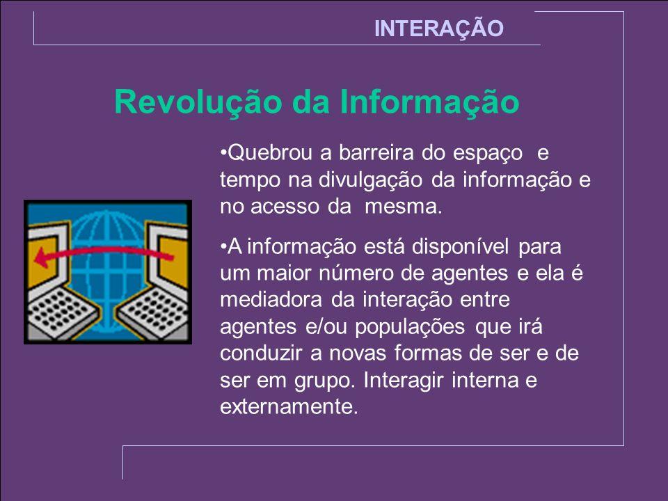 INTERAÇÃO Revolução da Informação O conhecimento dessas interações nos permitirá ser mais adaptativos e ao mesmo tempo permitirá melhorarmos nossa performance nos diversos campos de atuação.