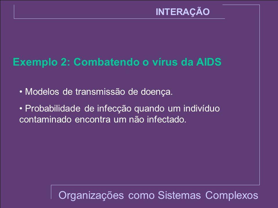 INTERAÇÃO Exemplo 2: Combatendo o vírus da AIDS Modelos de transmissão de doença. Probabilidade de infecção quando um indivíduo contaminado encontra u
