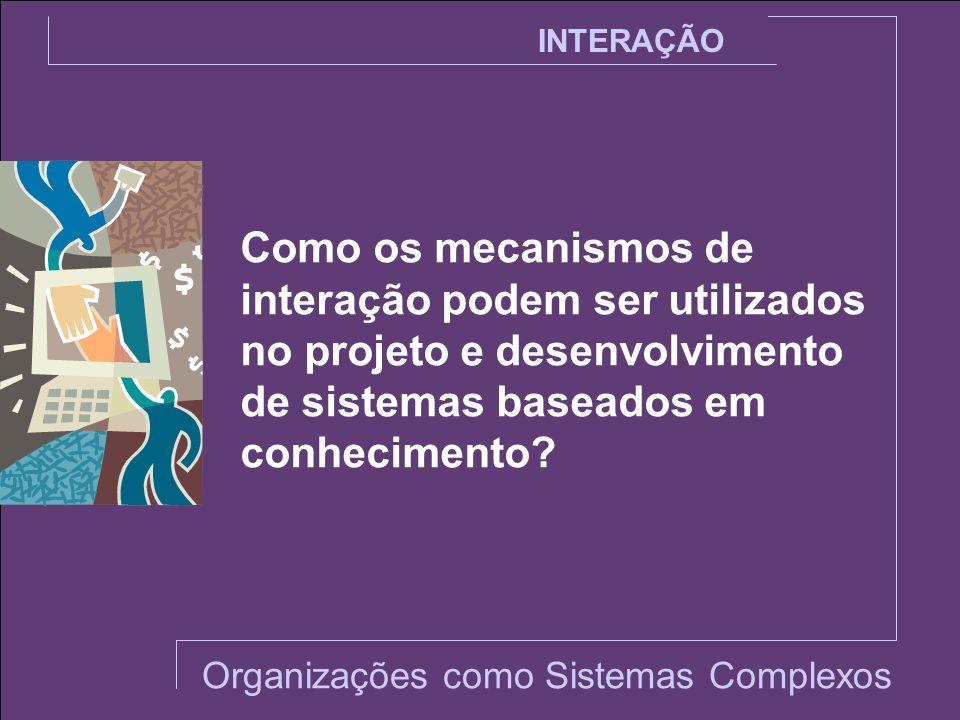 INTERAÇÃO Como os mecanismos de interação podem ser utilizados no projeto e desenvolvimento de sistemas baseados em conhecimento? Organizações como Si