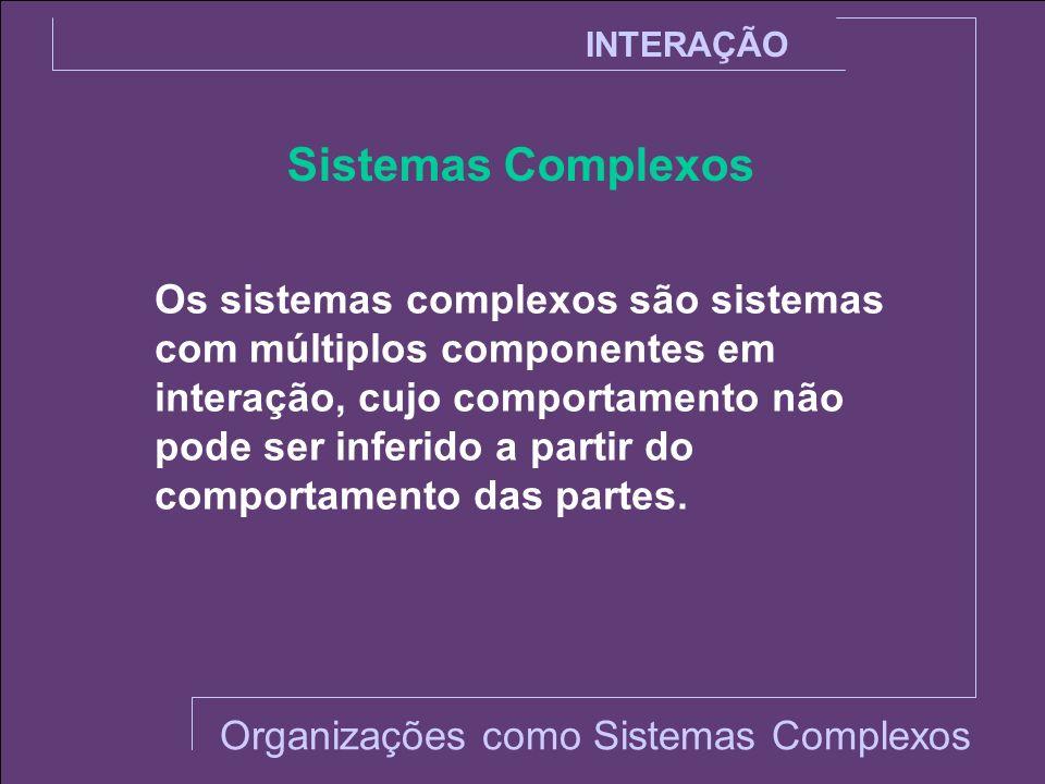 Sistemas Complexos INTERAÇÃO Os sistemas complexos são sistemas com múltiplos componentes em interação, cujo comportamento não pode ser inferido a par