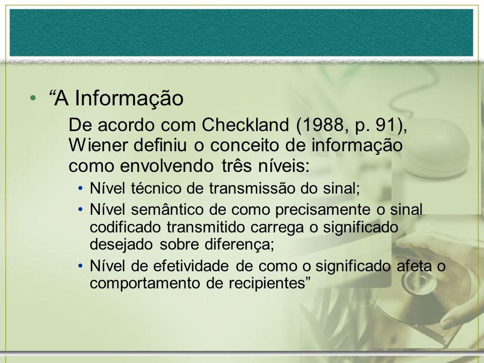 A Informação De acordo com Checkland (1988, p. 91), Wiener definiu o conceito de informação como envolvendo três níveis: Nível técnico de transmissão