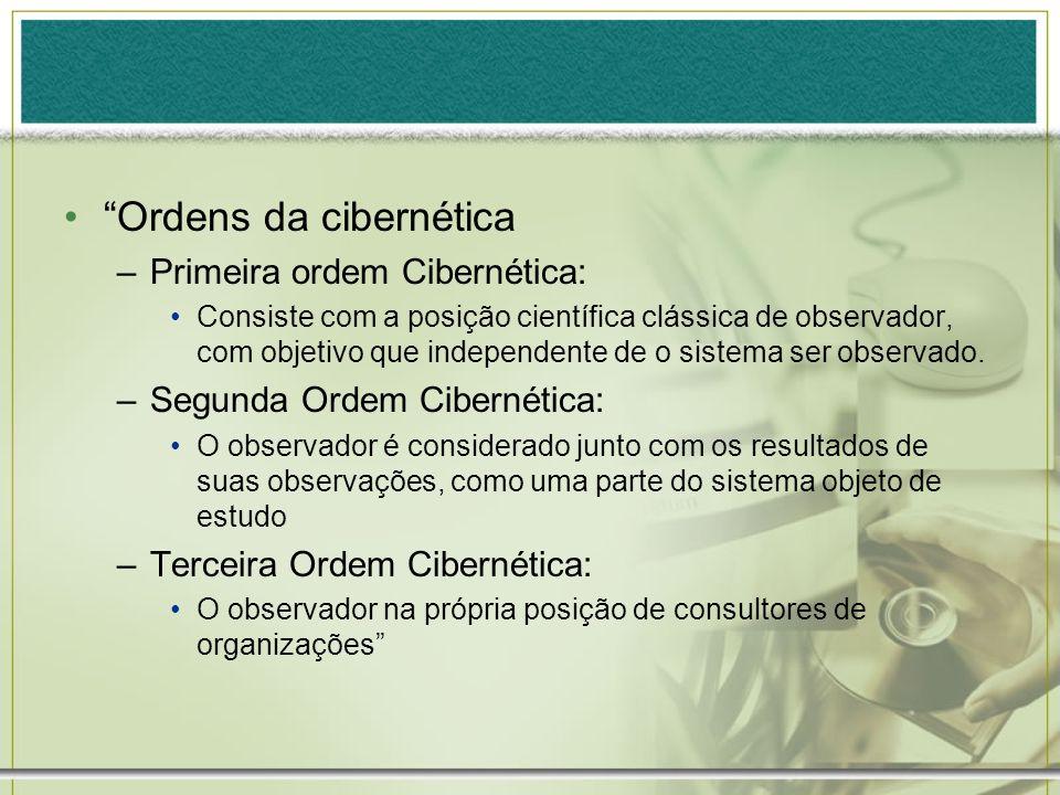 Ordens da cibernética –Primeira ordem Cibernética: Consiste com a posição científica clássica de observador, com objetivo que independente de o sistem