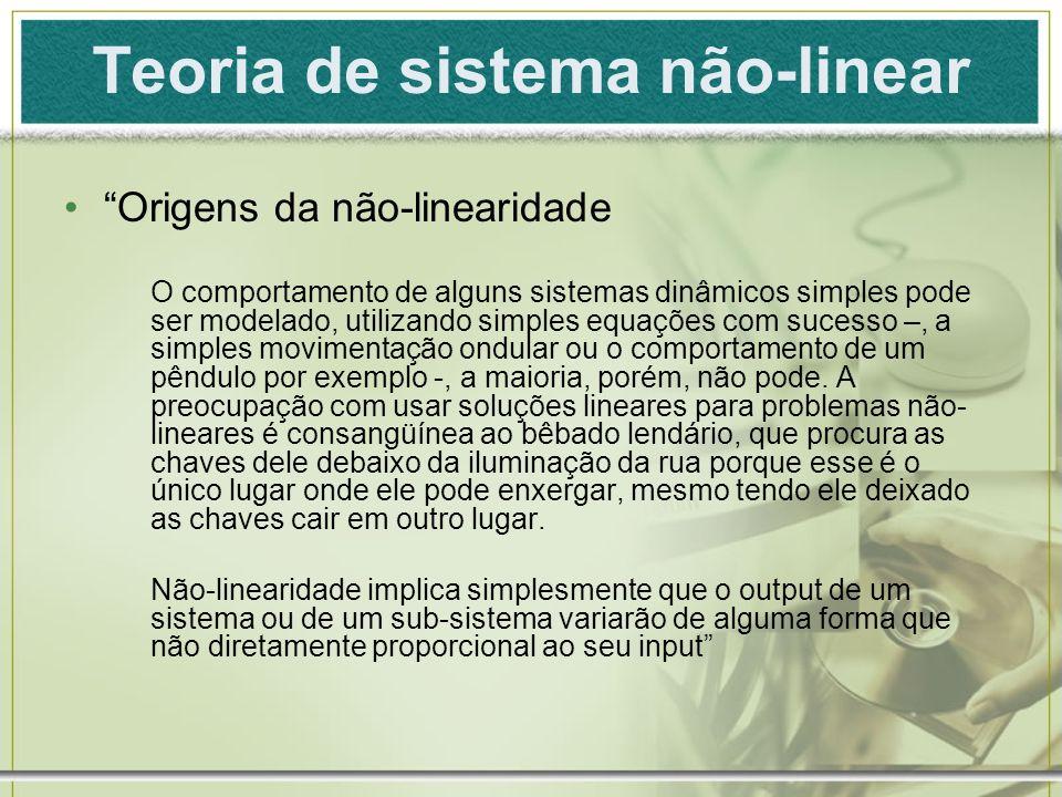 Teoria de sistema não-linear Origens da não-linearidade O comportamento de alguns sistemas dinâmicos simples pode ser modelado, utilizando simples equ