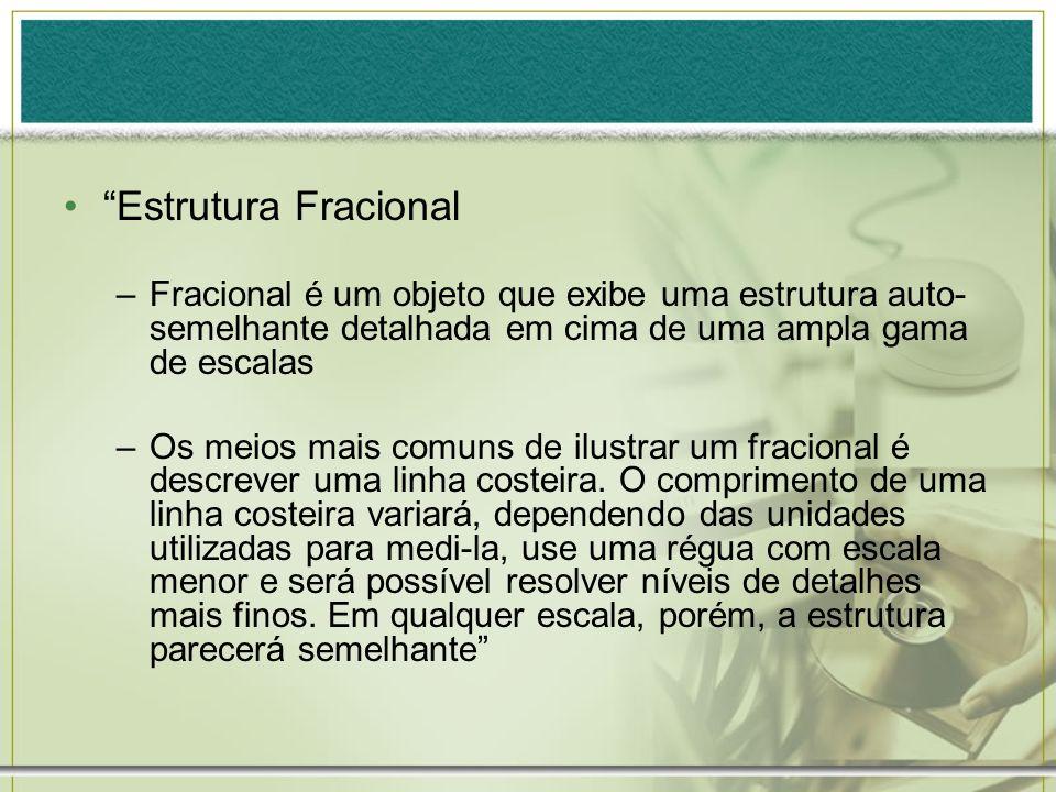 Estrutura Fracional –Fracional é um objeto que exibe uma estrutura auto- semelhante detalhada em cima de uma ampla gama de escalas –Os meios mais comu