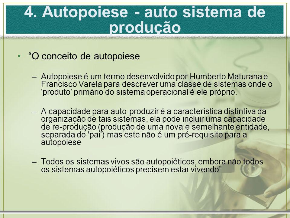 4. Autopoiese - auto sistema de produção O conceito de autopoiese –Autopoiese é um termo desenvolvido por Humberto Maturana e Francisco Varela para de