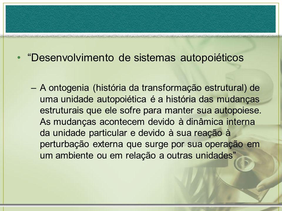 Desenvolvimento de sistemas autopoiéticos –A ontogenia (história da transformação estrutural) de uma unidade autopoiética é a história das mudanças es
