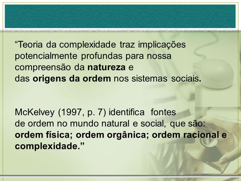 Teoria da complexidade traz implicações potencialmente profundas para nossa compreensão da natureza e das origens da ordem nos sistemas sociais. McKel