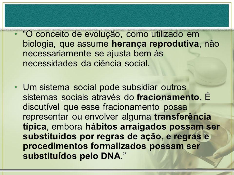 O conceito de evolução, como utilizado em biologia, que assume herança reprodutiva, não necessariamente se ajusta bem às necessidades da ciência socia