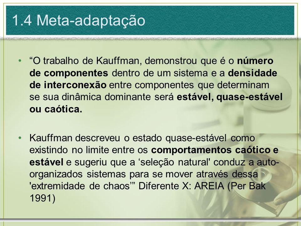 1.4 Meta-adaptação O trabalho de Kauffman, demonstrou que é o número de componentes dentro de um sistema e a densidade de interconexão entre component