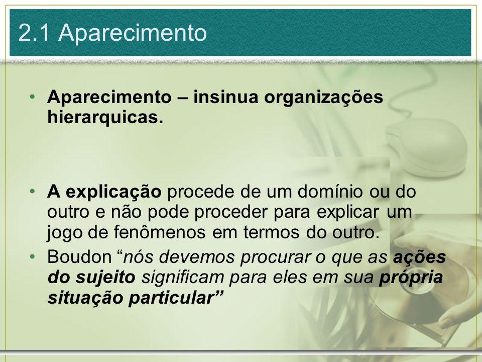 Aparecimento – insinua organizações hierarquicas. A explicação procede de um domínio ou do outro e não pode proceder para explicar um jogo de fenômeno