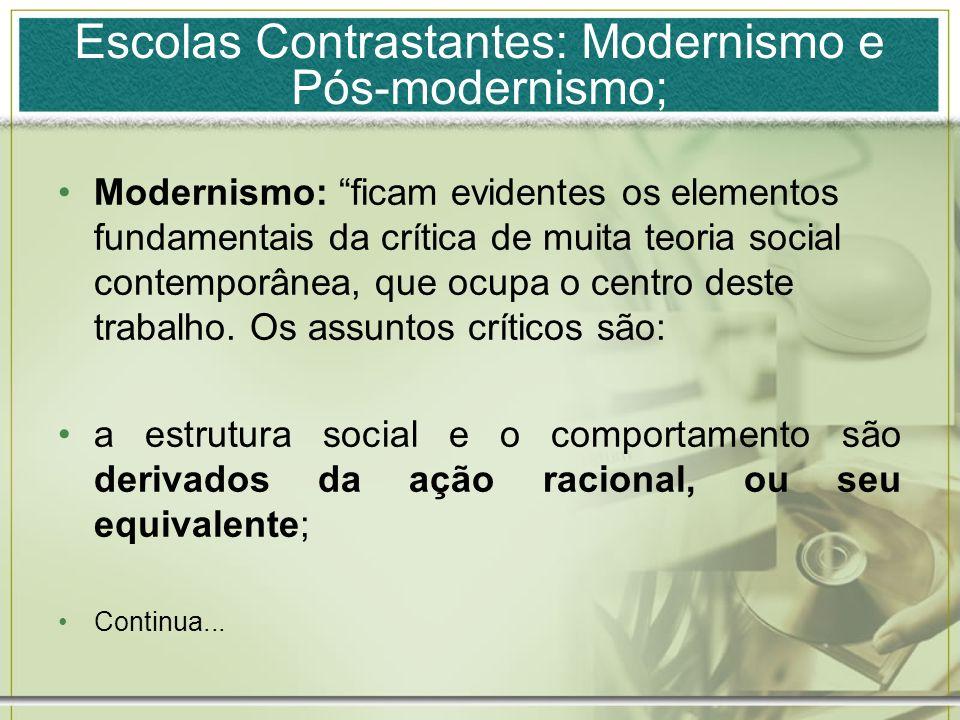 Escolas Contrastantes: Modernismo e Pós-modernismo; Modernismo: ficam evidentes os elementos fundamentais da crítica de muita teoria social contemporâ