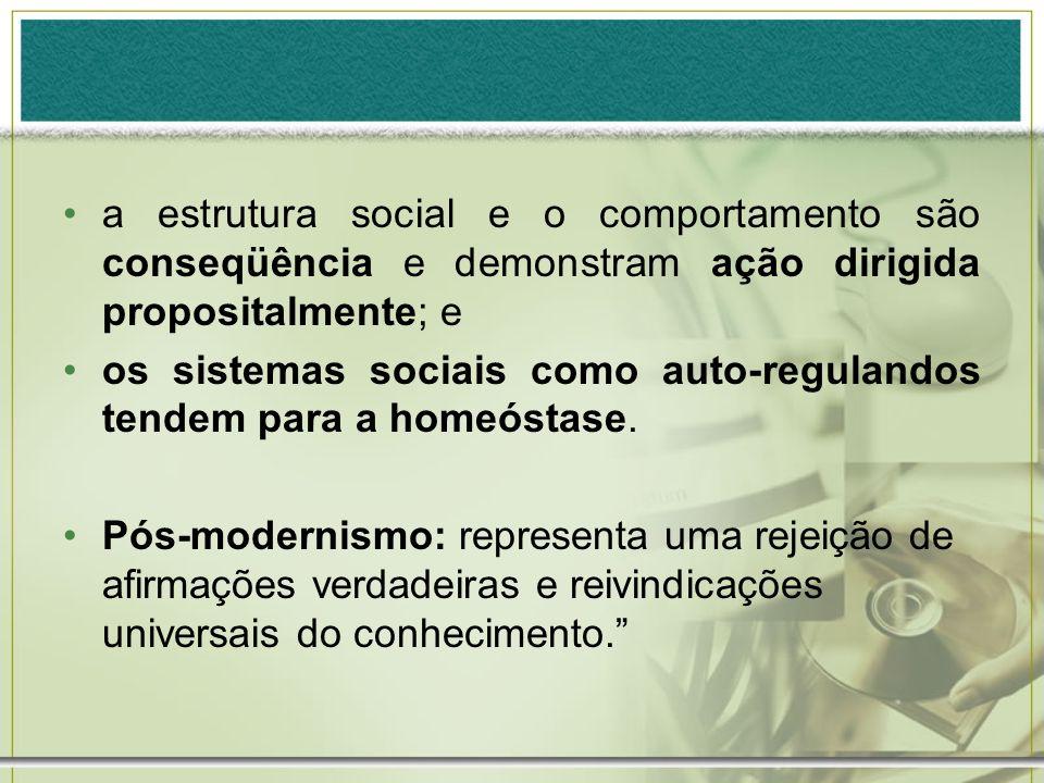 a estrutura social e o comportamento são conseqüência e demonstram ação dirigida propositalmente; e os sistemas sociais como auto-regulandos tendem pa