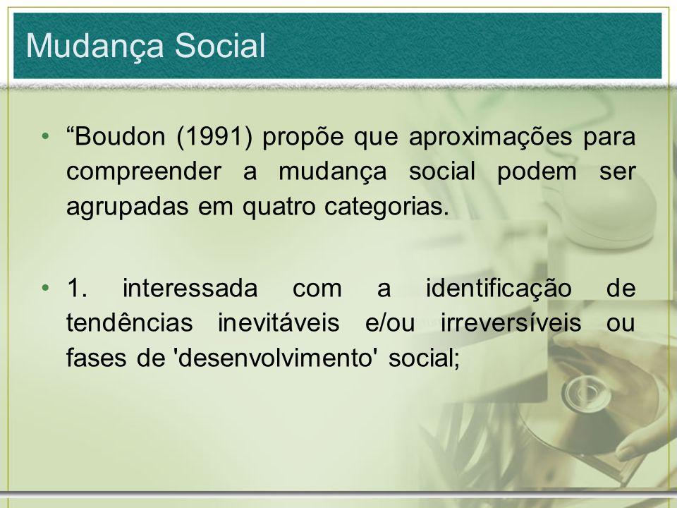 Mudança Social Boudon (1991) propõe que aproximações para compreender a mudança social podem ser agrupadas em quatro categorias. 1. interessada com a