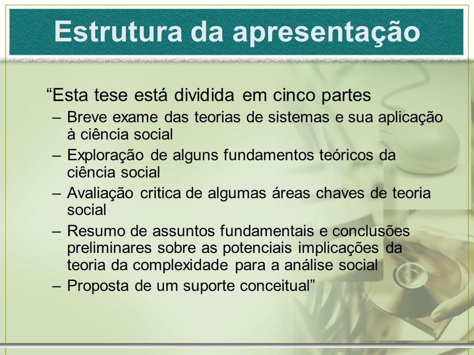 Estrutura da apresentação Esta tese está dividida em cinco partes –Breve exame das teorias de sistemas e sua aplicação à ciência social –Exploração de