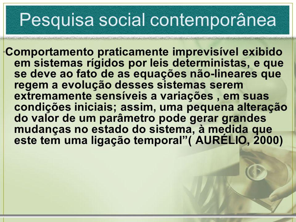 Pesquisa social contemporânea Comportamento praticamente imprevisível exibido em sistemas rígidos por leis deterministas, e que se deve ao fato de as