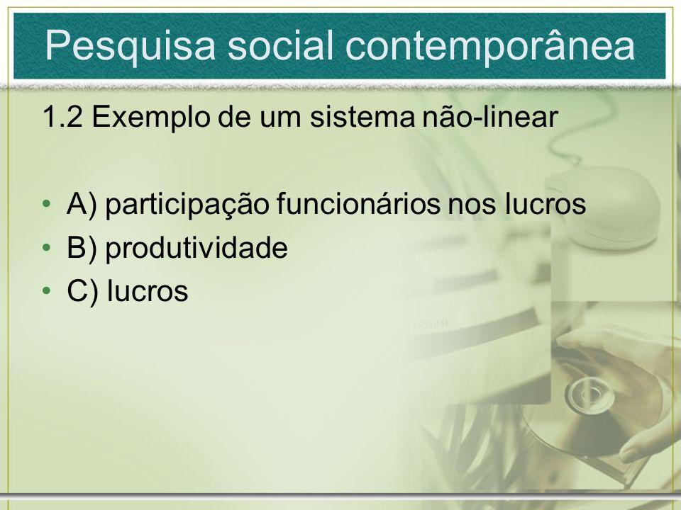 Pesquisa social contemporânea 1.2 Exemplo de um sistema não-linear A) participação funcionários nos lucros B) produtividade C) lucros
