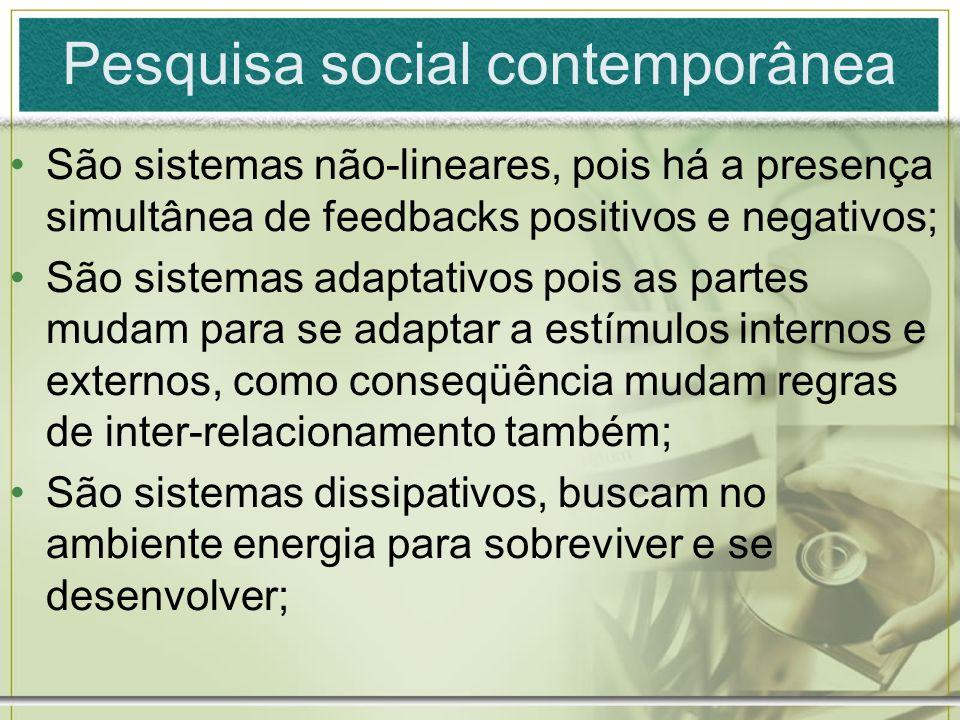 Pesquisa social contemporânea São sistemas não-lineares, pois há a presença simultânea de feedbacks positivos e negativos; São sistemas adaptativos po