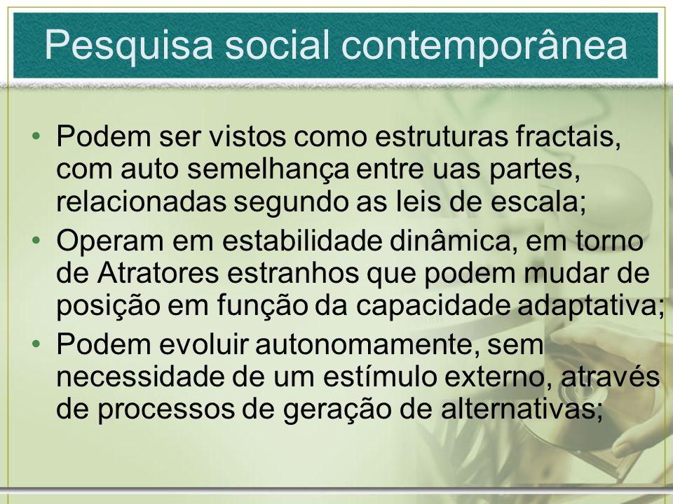 Pesquisa social contemporânea Podem ser vistos como estruturas fractais, com auto semelhança entre uas partes, relacionadas segundo as leis de escala;