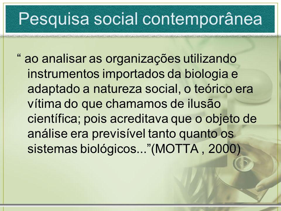 Pesquisa social contemporânea ao analisar as organizações utilizando instrumentos importados da biologia e adaptado a natureza social, o teórico era v